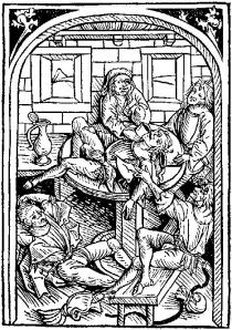 Woodcut-students' drinking bout